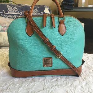 D&B pebbled all-leather zip-zip satchel